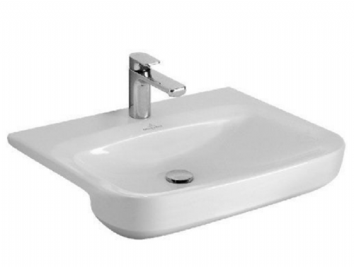 V&B (5146.55.01) - Single Tap Hole - Semi Recessed White Basin With Overflow